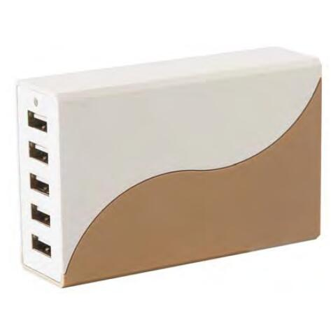12A 5 USB Ports Desktop Charger white and gold